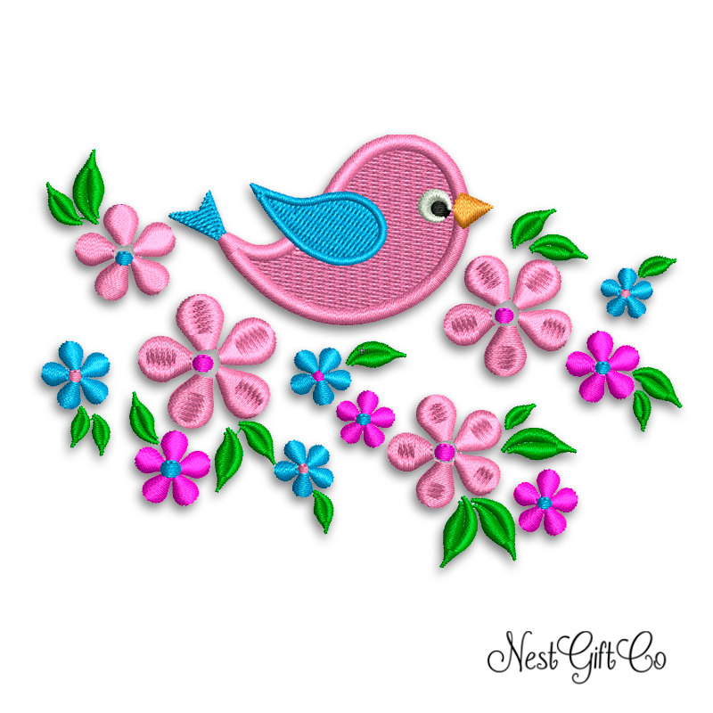 Machine Embroidery Light Pink Bird And Flowers Design Applique